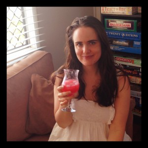 Bec with Pink Lemonade - same drink with some frozen raspberries thrown in!