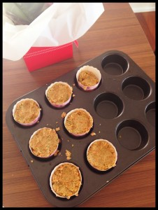 Pre-baked mixture in the cupcake cases.
