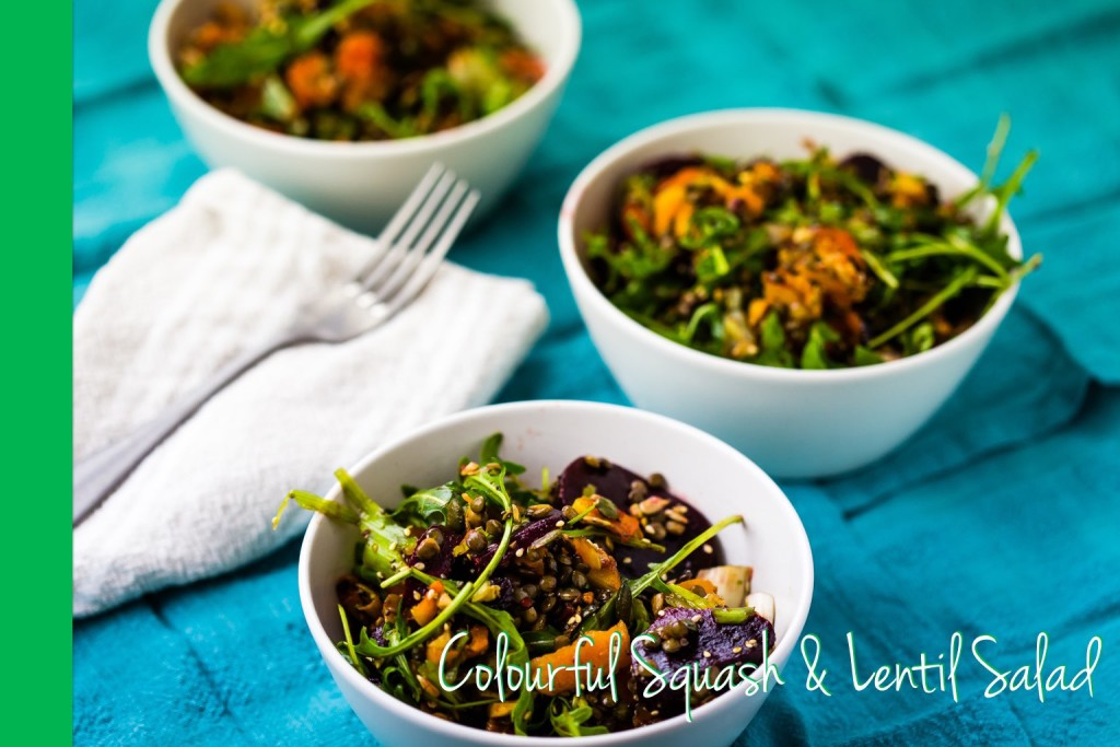 Thermomix squash an lentil colorful salad