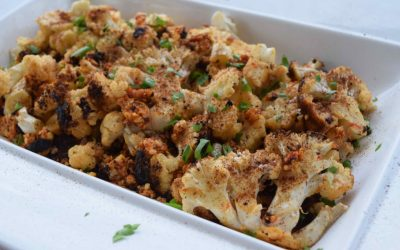 Whole Roasted Cauliflower with Roast Capsicum Pesto Stuffing