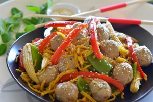 Asian-Chicken-Meatballs-with-Vegetables-and-Noodles-Thermomix-Recipe