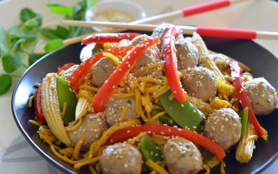 Asian Chicken Meatballs with Vegetables and Noodles