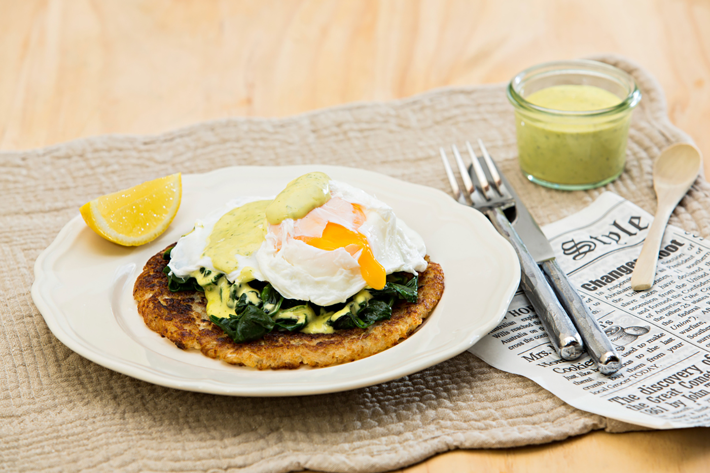 Eggs-Florentine-with-Potato-Rosti-and-Simple-Hollandaise-Thermomix-Recipe