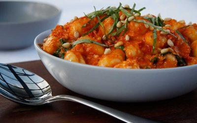 Gnocchi with Creamy Semi Dried Tomato and Pine Nut Sauce