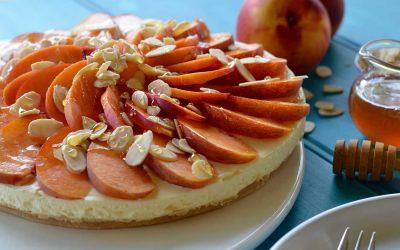 Nectarine, Almond and Honey Cheesecake