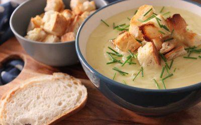 Potato & Leek Soup with Garlic Croutons
